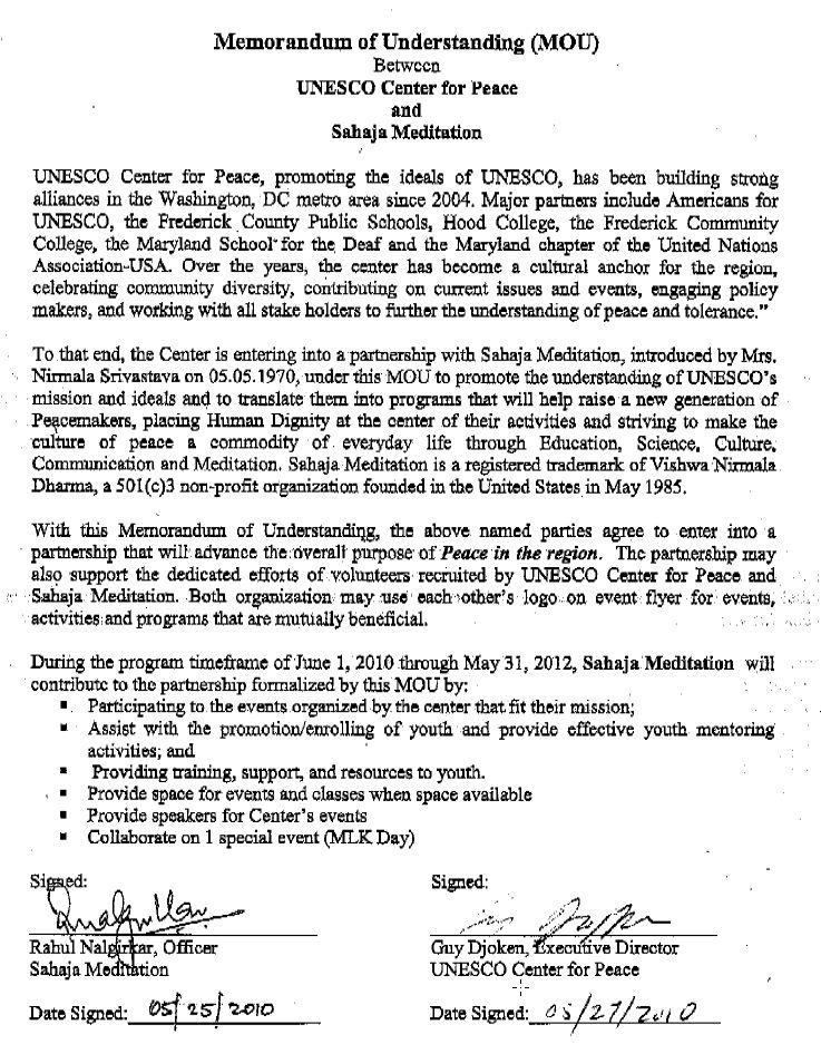 UNESCO memorandum of understanding