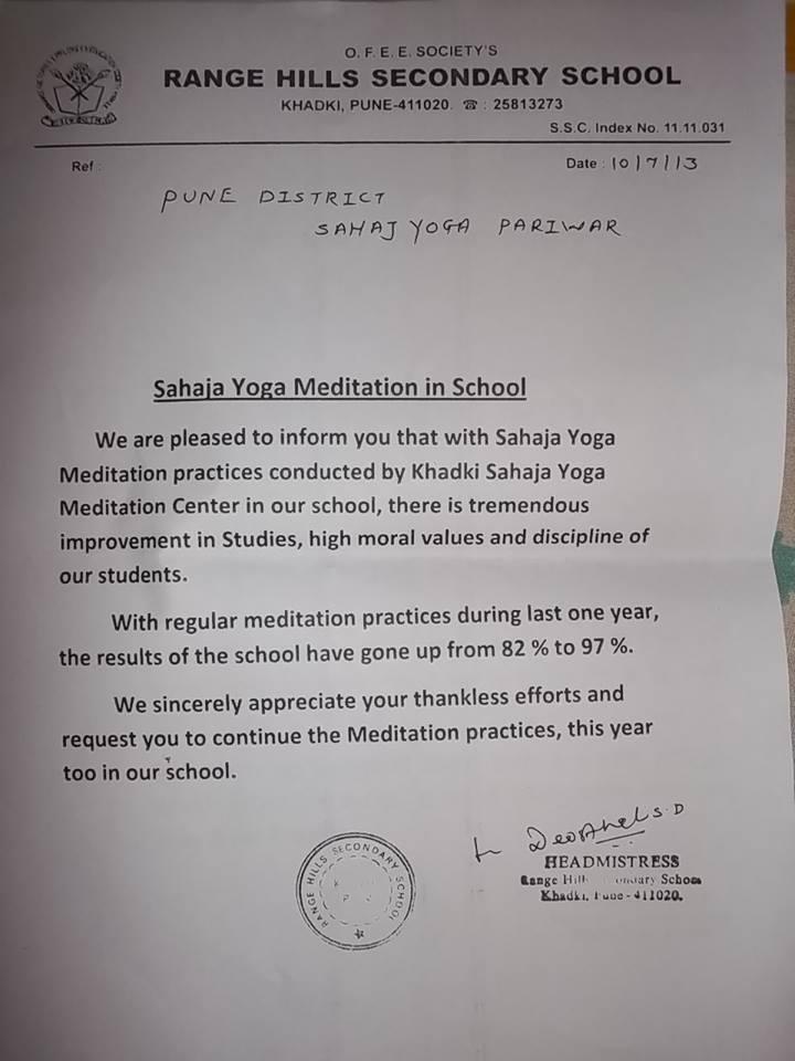 Sahaja Yoga ha ricevuto un attestato di riconoscimento dei benefici della meditazione sul rendimento degli studenti